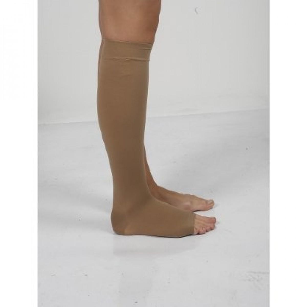 Diz Altı Varis Çorabı Burnu Açık